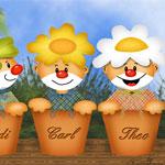 Clowns im Blumentopf