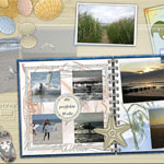 Fotoalbum und Muscheln