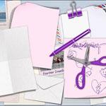 Zackenschere, Stift, Papier